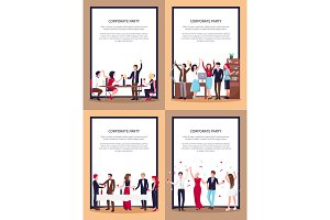 Corporate Party Set of Posters Vector Illustration