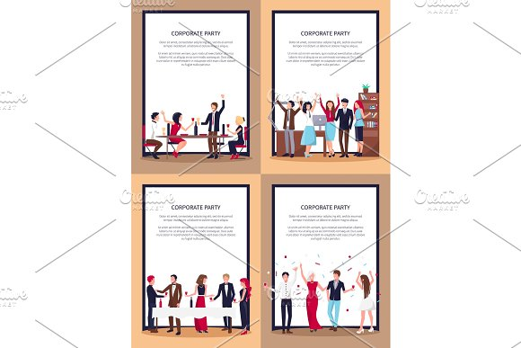Corporate Party Set of Posters Vector Illustration in Illustrations