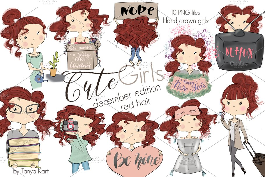 Cute Girls December Edition Red Hair in Illustrations - product preview 2