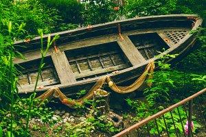 Boat in the garden.