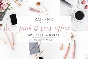 Pink+Grey Office Stock Photo Bundle