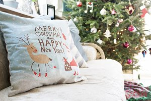 Christmas pillow on couch