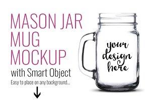 Mason Jar Mug Mockup Template PSD