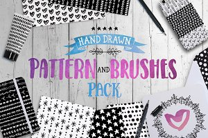 HandDrawn Mono Pattern & Brushes