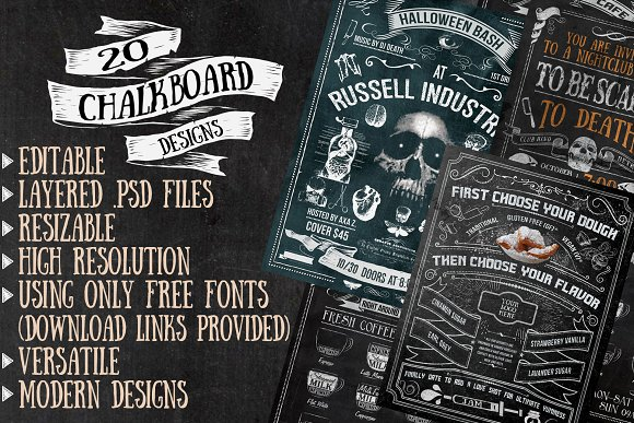 twenty editable chalkboard designs templates creative market
