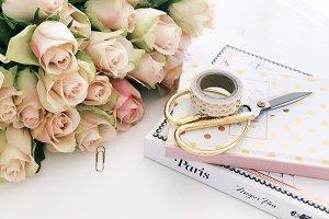 Feminine Work space/ Gold Pink