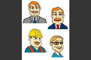 Cartoon businessmen, builder, doctor
