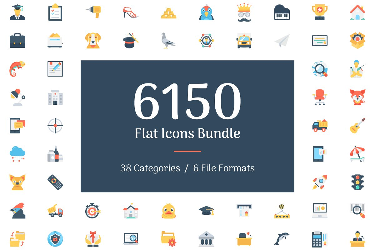 6150 Flat Icons Bundle in Flat Icons