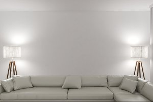 White sofa with two lamps