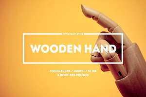 Wooden hand. Set of 8