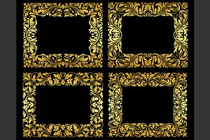 Golden floral frames on black backgr