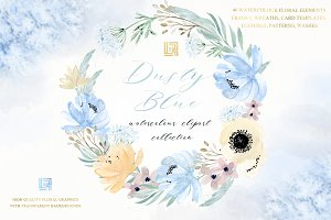 Dusty blue gold. Watercolor clipart.