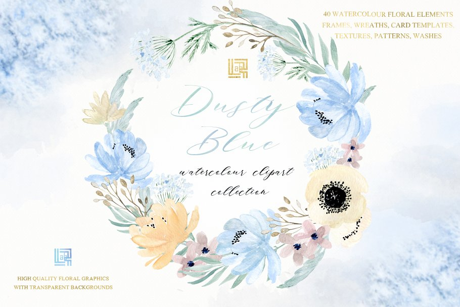 Dusty blue gold. Watercolor flowers in Illustrations - product preview 9