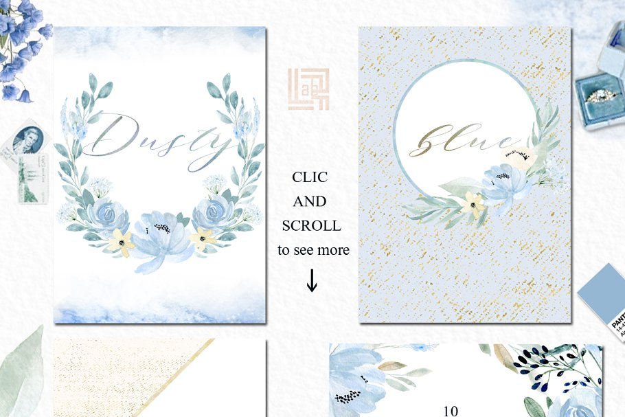 Dusty blue gold. Watercolor flowers in Illustrations - product preview 8