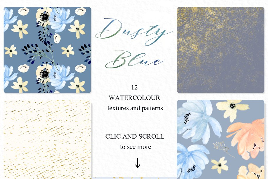 Dusty blue gold. Watercolor flowers in Illustrations - product preview 6