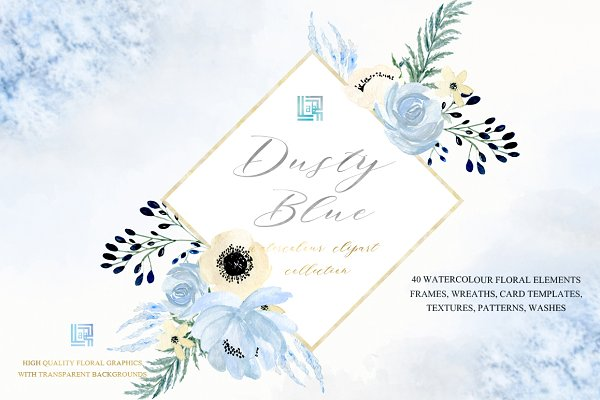Dusty blue gold. Watercolor clipart…