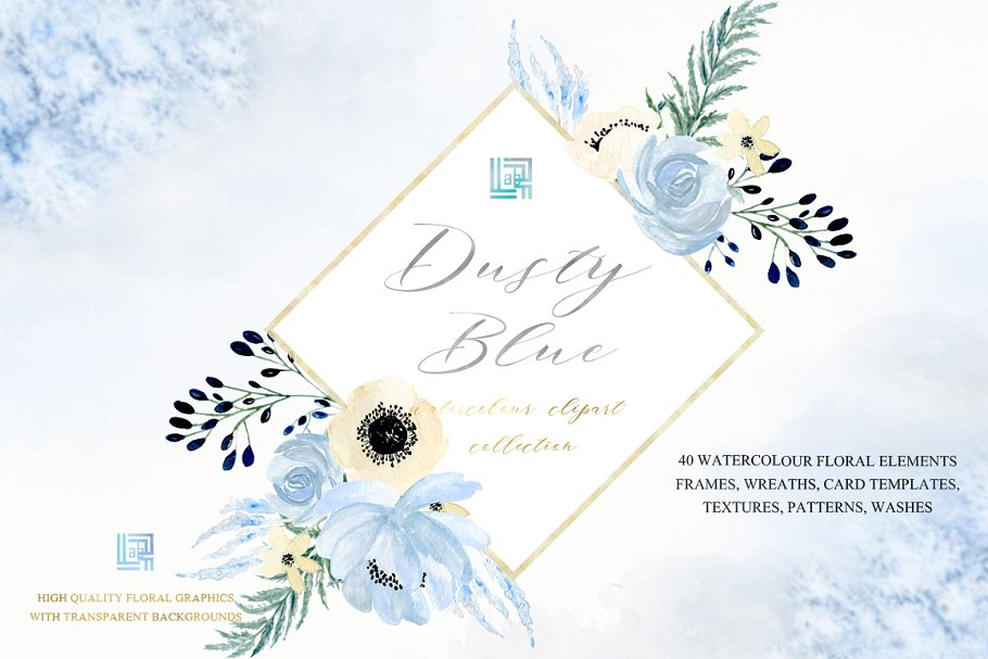 Dusty blue gold. Watercolor flowers in Illustrations - product preview 10