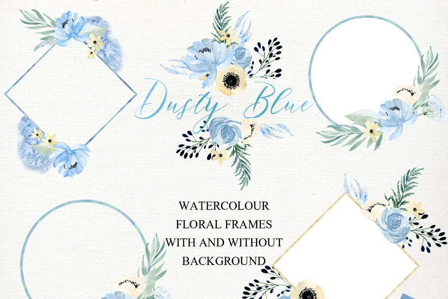 Dusty blue gold. Watercolor flowers in Illustrations - product preview 7