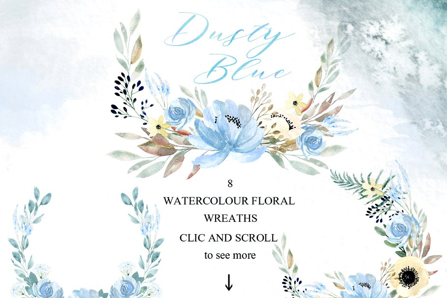 Dusty blue gold. Watercolor flowers in Illustrations - product preview 5
