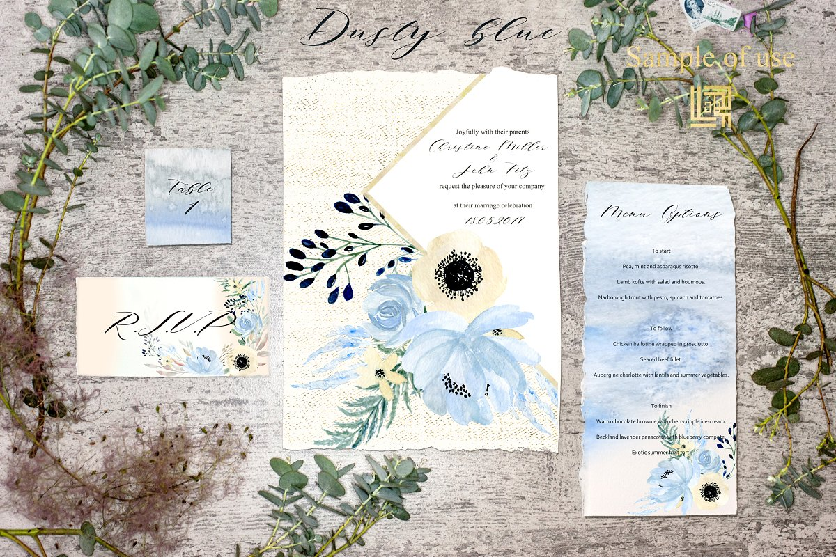 Dusty blue gold. Watercolor flowers in Illustrations - product preview 4