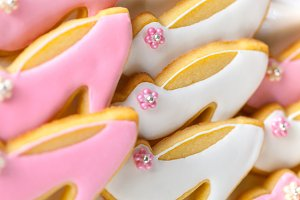 Pink and white shoe-shaped cookies