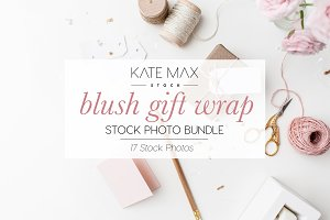 Blush Gift Wrap Stock Photo Bundle