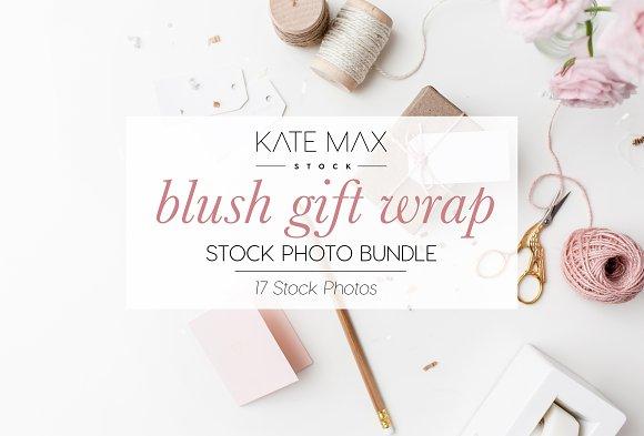 Blush Gift Wrap Stock Photo Bundle