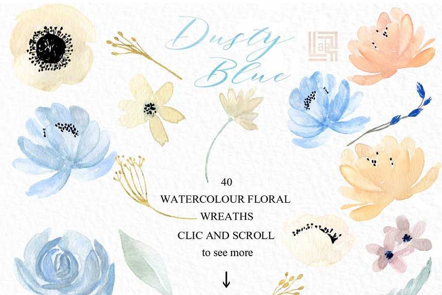 Dusty blue gold. Watercolor flowers in Illustrations - product preview 3