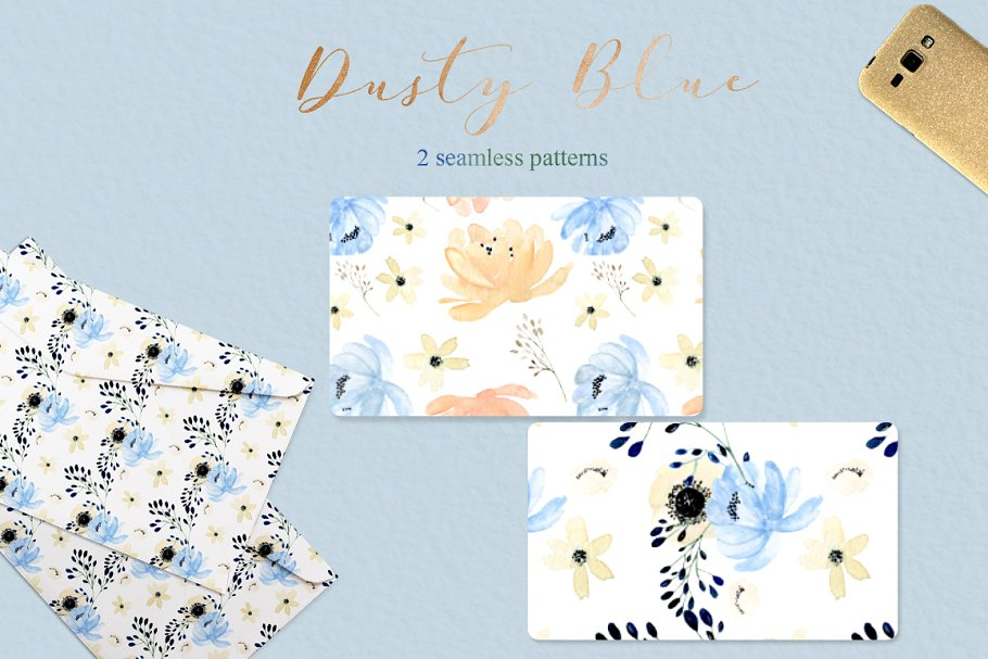 Dusty blue gold. Watercolor flowers in Illustrations - product preview 11