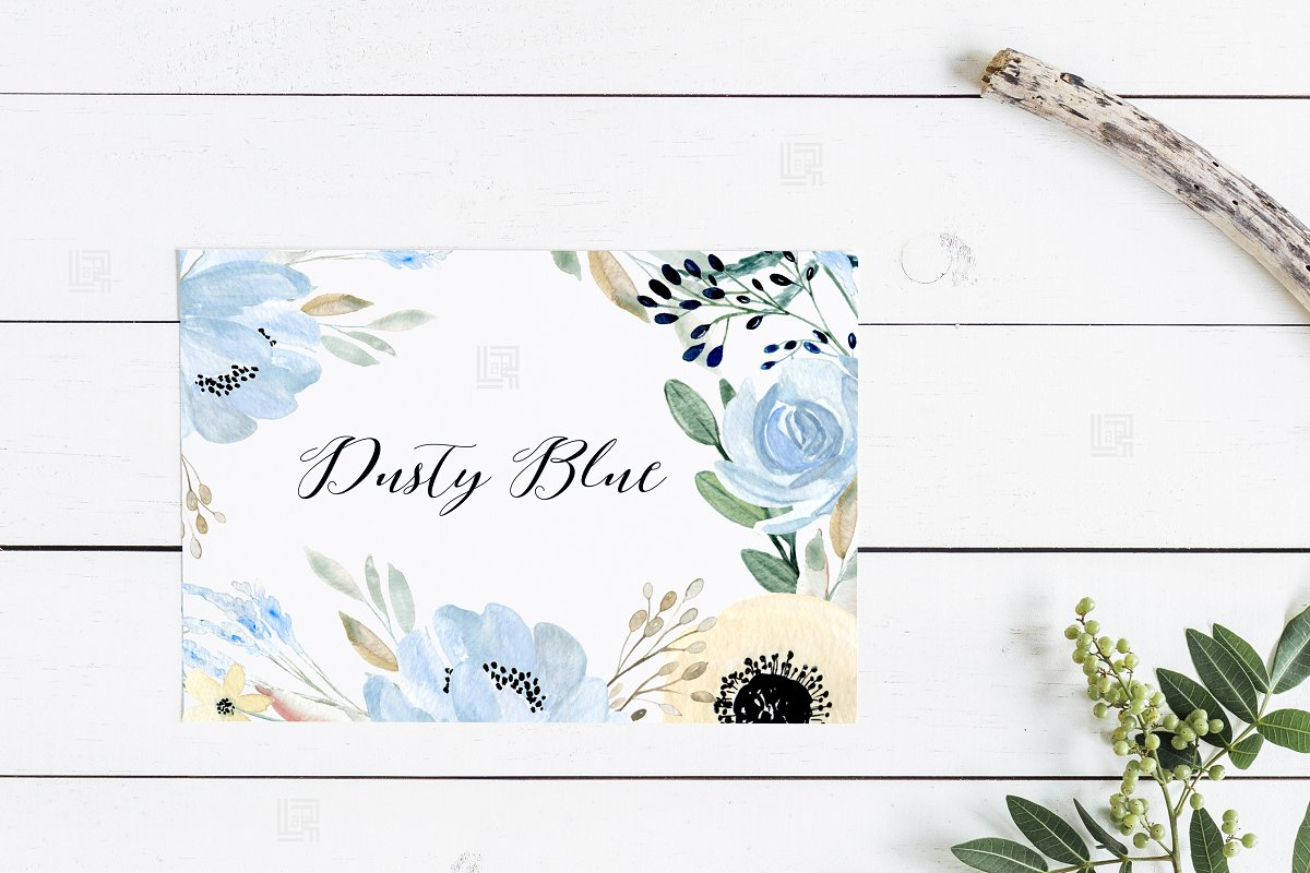 Dusty blue gold. Watercolor flowers in Illustrations - product preview 2