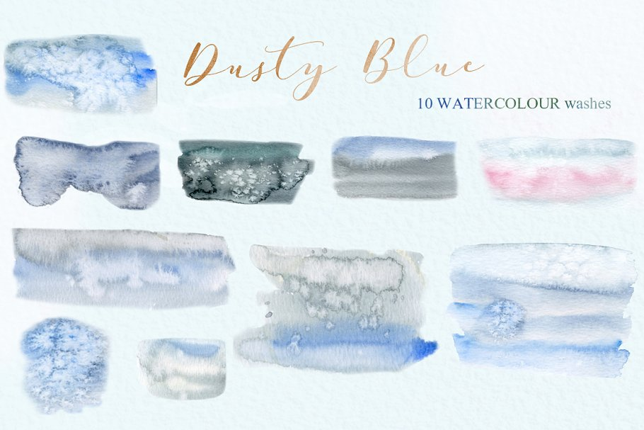 Dusty blue gold. Watercolor flowers in Illustrations - product preview 1