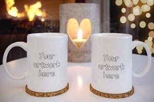Couple empty tea CUP mockup template