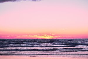 Pink Sunset Surf Photo