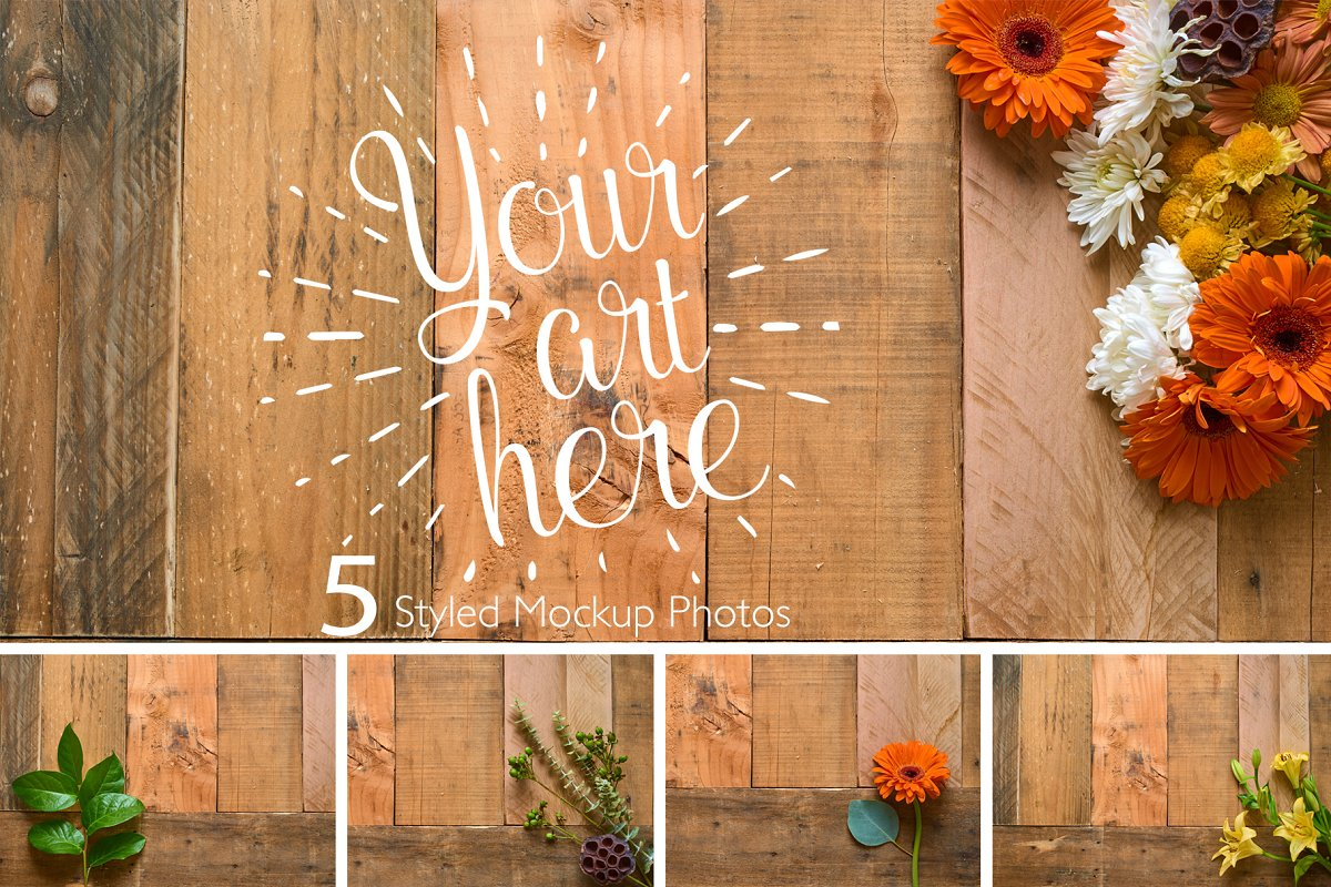 Rustic Flower Photo Set On Wood in Templates