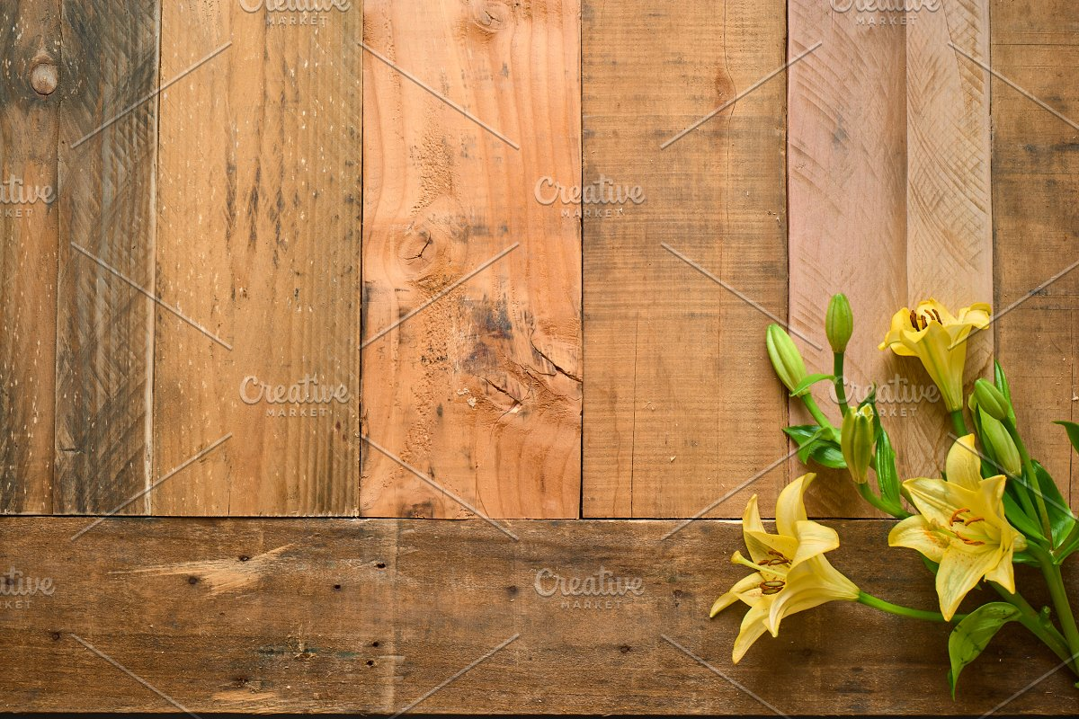 Rustic Flower Photo Set On Wood in Templates - product preview 1