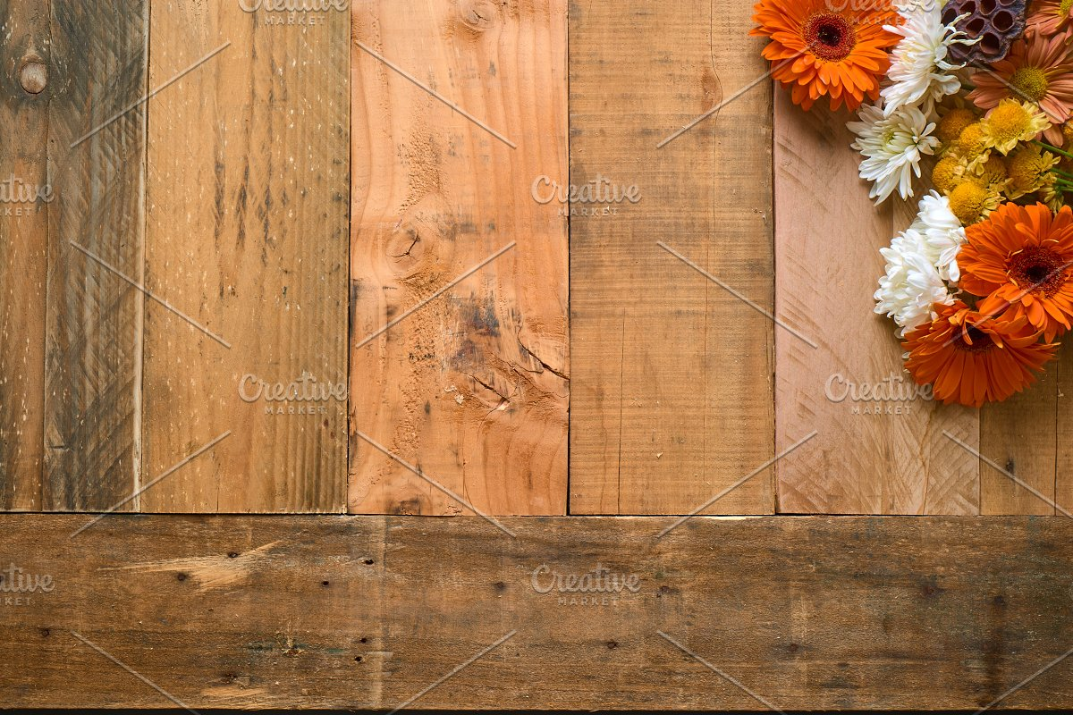Rustic Flower Photo Set On Wood in Templates - product preview 3