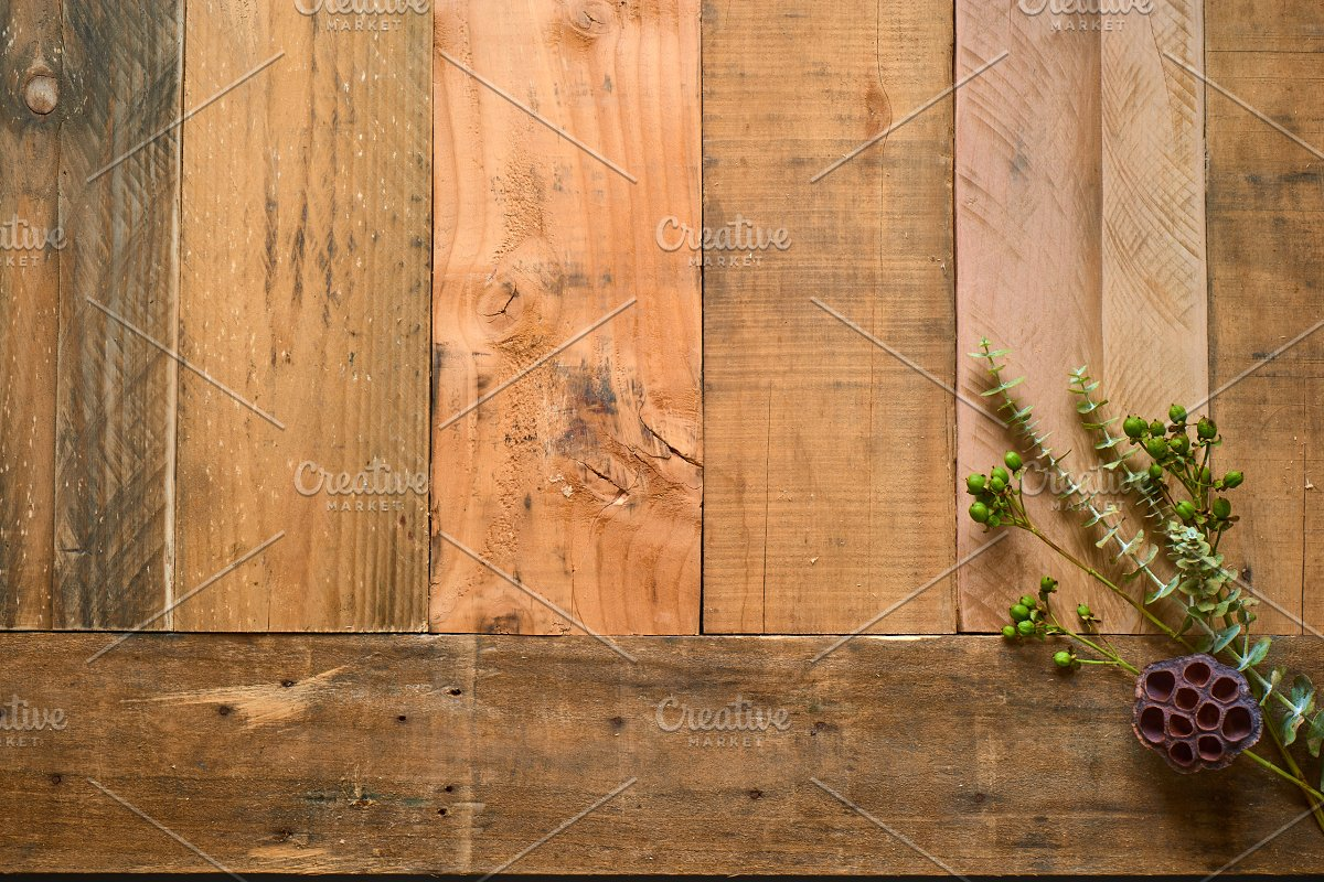 Rustic Flower Photo Set On Wood in Templates - product preview 5