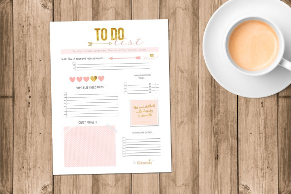 To Do List Pink Gold Printables