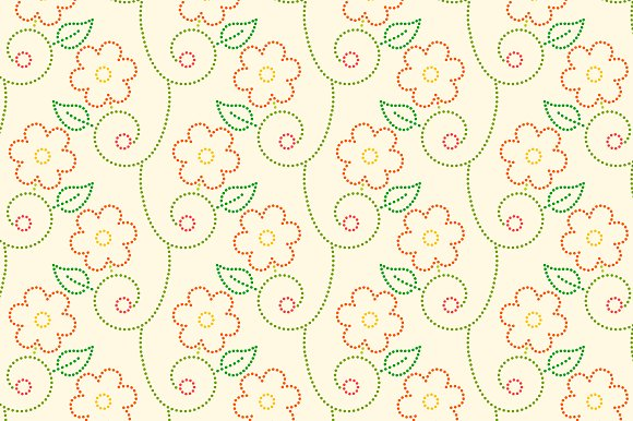 Dotted flowers seamless pattern