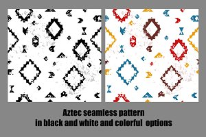 Grunge aztec seamless patterns set