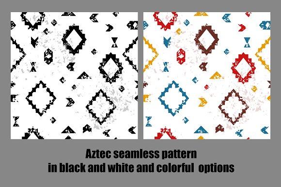 Grunge aztec seamless patterns set in Patterns