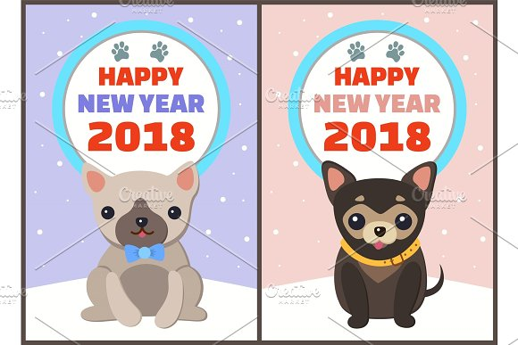 Happy New Year 2018 Dogs Set Vector Illustration in Objects
