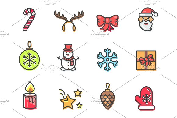 Christmas Theme Icons Set Vector Illustration in Textures