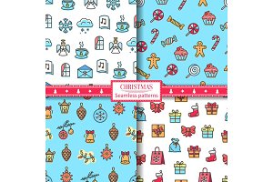 Christmas Seamless Patterns Vector Illustration