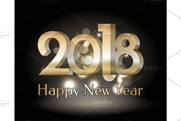 Happy New Year 2018 Black Vector Illustration in Objects