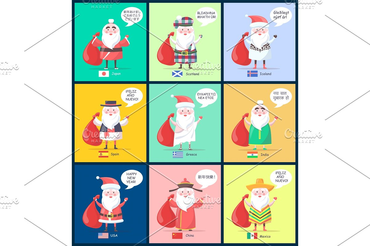 Japan Scotland Santa Clauses Vector Illustration