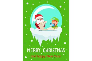 Happy New Year Merry Xmas Postcard Santa and Elf