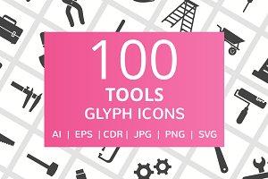 100 Tools Glyph Icons
