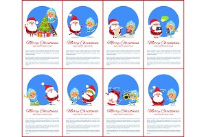 Merry Christmas Winter Set Vector Illustration