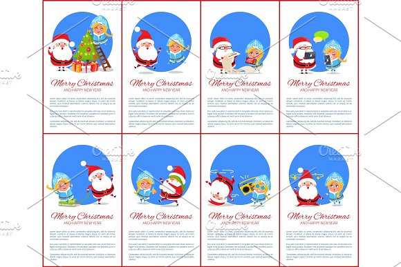 Merry Christmas Winter Set Vector Illustration in Objects